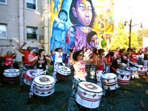 """A Survivor's Journey"" inaugural event: the all-female percussion group Batala plays for the crowd."