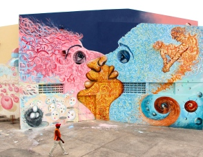 Santiago de Cuba, 2014: Joel participated in the Inter-Nos arts festival, where he collaborated with international and local artists on public art works. (Mural by Joel Bergner, Max Frieder, Xenia & Adam Hoffmeinserová, Latife Akin, Gonca Karapinar, Grettel Arrate Hechavarria, Alejandro Lescay, and Modesto Montero: USA, Czech Republic, Turkey, Cuba)