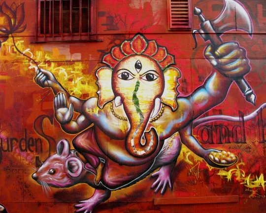 "Washington DC 2012: Detail from ""Ganesha"" in DC-- features the Hindu deity Ganesha, the ""Remover of Obstacles,"" and deals with people's life obstacles that they create themselves by failing to release their personal baggage. Corner of 1st St and U St. NW."