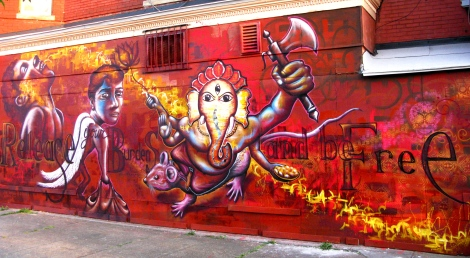 """Washington DC 2012: Features the Hindu deity Ganesha, the """"Remover of Obstacles,"""" and deals with people's life obstacles that they create themselves by failing to release their personal baggage. Corner of 1st St and U St. NW."""