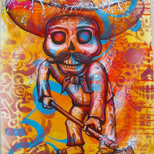"""El Esqueleto"" 2012. Acrylic and spray paint on canvas. 18″ x 32″ painted in Mexico City. Commissioned by the organization IRRI (Istituto Internacional de Recursos Renovables)"