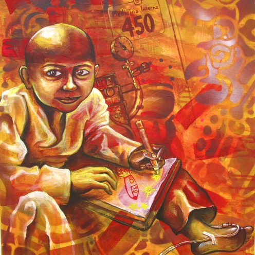 """Niño con Cáncer"" 2012. Acrylic and spray paint on canvas. 16″ x 32″ painted in Mexico City. Commissioned by the organization IRRI (Istituto Internacional de Recursos Renovables)"