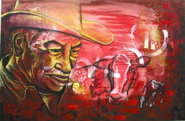"Mexico 2012: ""El Campo"" work on canvas, part of project in collaboration with the Mexican organization IRRI: Istituto Internacional de Recursos Renovables."