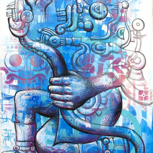 "Mexico, 2012: ""Tla-Loc"" the Aztec rain god: work on canvas: from a series for the Mexican organization IRRI: Istituto Internacional de Recursos Renovables"