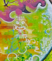detail– abstract expressions, stencil art inspired by the Aztecs, and aerosol art combo!