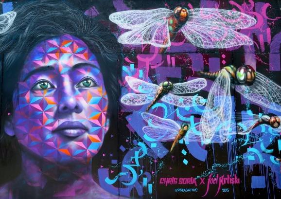 "Brooklyn, NY 2015: Detail of ""Ix Chel's Dream"" collaboration with Chris Soria on Harman St. in Bushwick. Organized by Spread Art NYC."