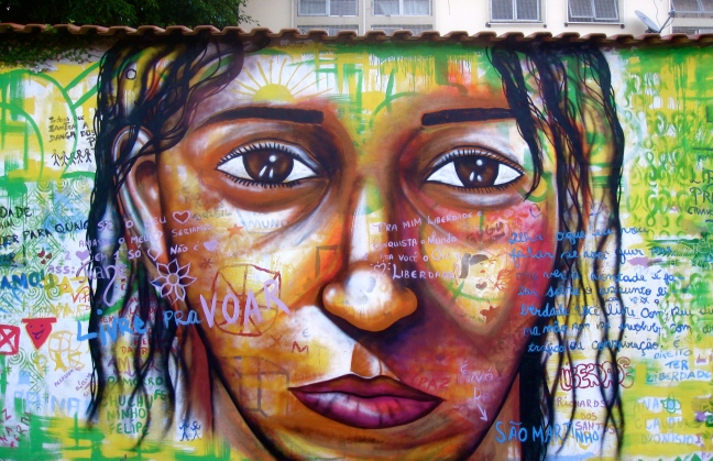 Street children and teens created their personal poems and drawings as a backdrop to this portrait: Street Art with Street Kids Project, Rio de Janeiro