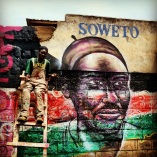 Nairobi, Kenya 2013: Portrait of G'nesh, who worked on this project and was a victim of the 2007 post-election violence due to his ethnicity. Kibera Walls for Peace youth arts project in one of Africa's largest slums: working toward peace for the elections through public art and peace-building workshops with local youth.