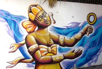 Salvador da Bahia: Oxum! mural in a center of Candomblé, an Afro-Brazilian religion