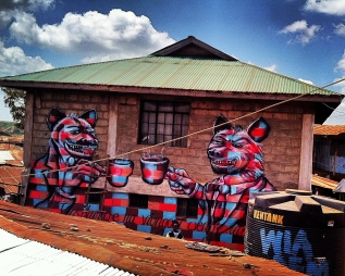 """Two Hyenas"" encourages Kibera residents not to fight each other on behalf of ""hyenas"" (Kenyan slang for corrupt politicians)."