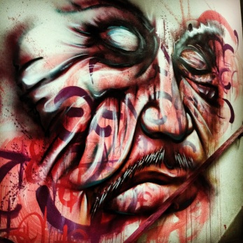 São Paulo, Brazil 2013: stairwell piece created during a graffiti art and music festival