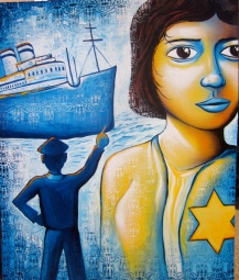 """The Voyage of the St. Louis"" on canvas was created for the US Committee for Refugees and Immigrants as part of a poster series."