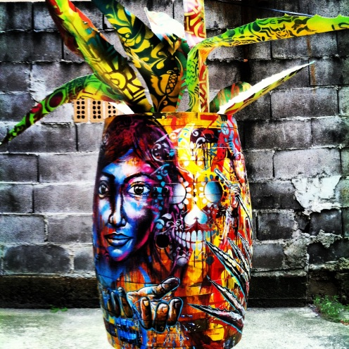 """Tequila roots"" 2013. Acrylic, spray paint and aluminum sheets on wood tequila barrel. 3.5' high, created in Brooklyn."