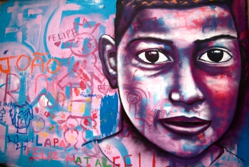Mural with street children. Street Art with Street Kids Project, Rio de Janeiro