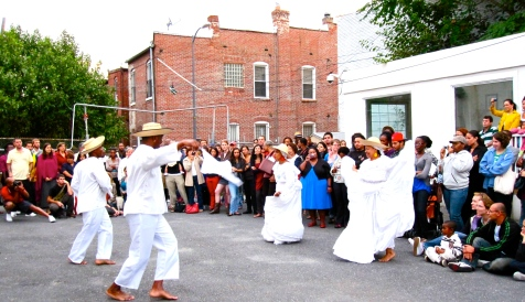 The Afro-Colombian Mural inaugural event in DC: this dance troupe performs currulao, the folkloric music and dance from the Pacific Coast of Colombia.