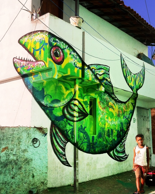 Salvador da Bahia, Brazil 2013: Joel's contribution to the MUSAS outdoor street art/ graffiti art gallery and social project organized by the Nova 10ordem graffiti crew.