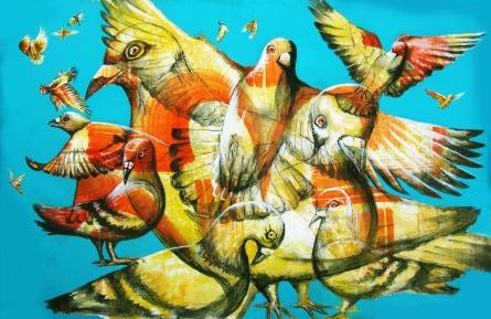 """""""Os Pombos do Leme"""" 2014, acrylic on canvas. 26″ x 18″ painted in Rio de Janeiro"""
