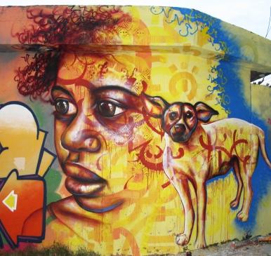 "São Paulo, Brazil 2013: Joel's contribution to an ""outdoor gallery"" in a favela in the São Mateus neighborhood, organized by the graffiti crew OPNI"