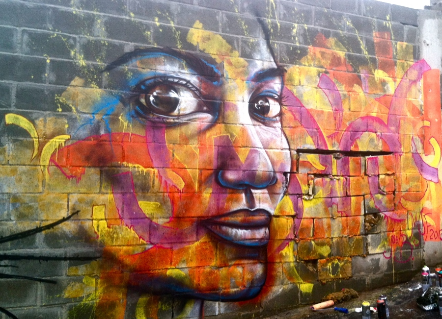 """Rio de Janeiro, Brazil 2013: One of Joel's many contributions to graffiti/ street art festivals in Brazil, """"Karlinha"""" was created for Latin America's largest of such events, MOF (Meeting of Favelas)."""