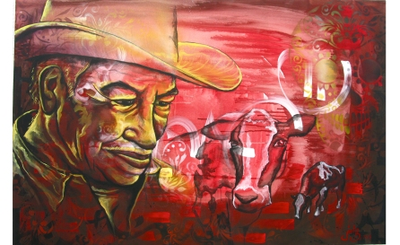 """""""El Campesino"""" acrylic and spray paint on canvas. 30″ x 20″ painted in Mexico City. Commissioned by the organization IRRI."""