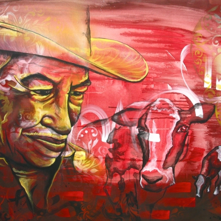 """El Campesino"" acrylic and spray paint on canvas. 30″ x 20″ painted in Mexico City. Commissioned by the organization IRRI."