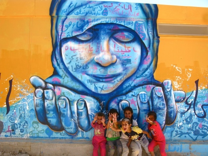 Za'atari Syrian Refugee Camp in Jordan, 2013. This piece was created in collaboration with Syrian refugee children, and explores the importance of water conservation, especially for those who suddenly find themselves stranded in a desert. Collab with the organizations AptART and ACTED.