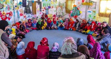 Azraq Syrian Refugee Camp, Jordan 2015: Educational workshop in Azraq Camp