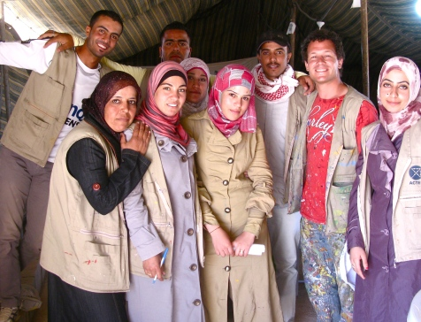 Joel with his new friends and collaborators, the Syrian hygiene promotion crew!!