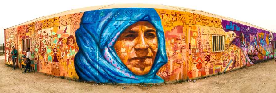 Za'atari Syrian Refugee Camp, Jordan, 2017: Joel worked with local young people, the Syrian art collective Jasmine Necklace and Max Frieder on this Artolution art program. With the Norwegian Refugee Council and the International Rescue Committee.