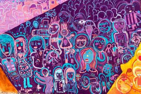 Amman, Jordan 2017: Detail of kids' art