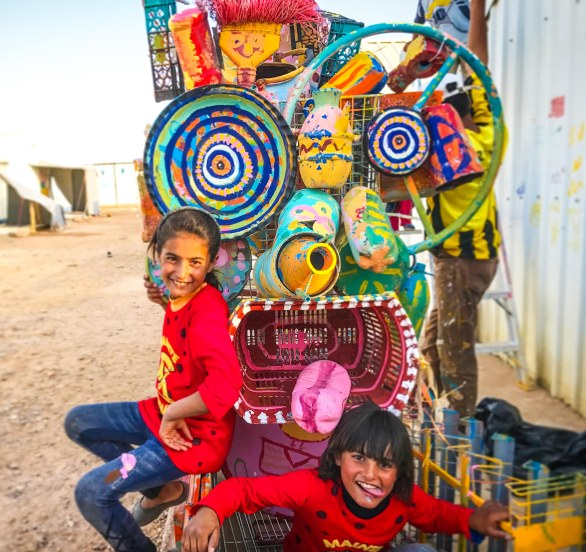 Fun with trash! This sculpture made of repurposed garbage was created with kids and Max Frieder in Azraq