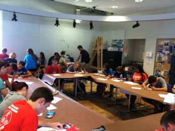 Newly-arrived freshmen participating in one of the workshops.