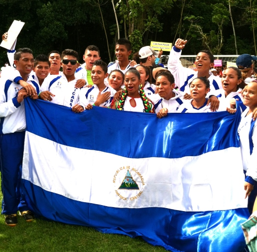Team Nicaragua showing their national spirit!