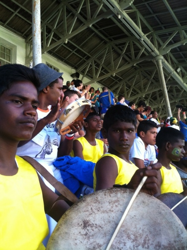 Team India playing the drums during the final match.