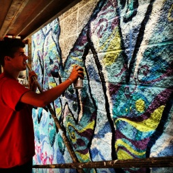 Our most dedicated student putting his aerosol skills to the test without giving his mother any grey hairs.