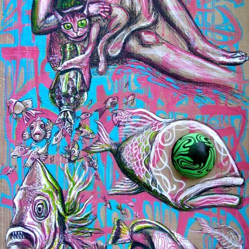 """Braiding Hair"" 2014. Ink and acrylic on cardboard. 42″ x 16″ painted in Rio de Janeiro"