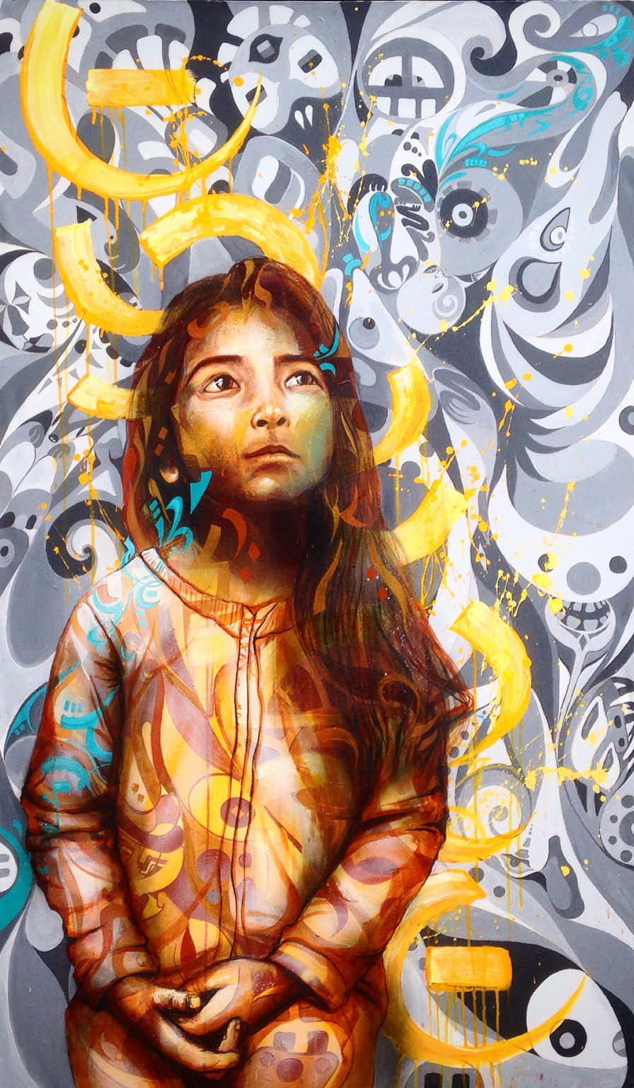 """""""Maya"""" 2015. Acrylic and spray paint. This is a portrait of a 4 year old girl from a Salvadoran family that Joel has been close to since his first visit to El Salvador in 2004."""
