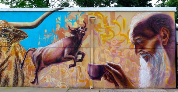 Staten Island, NY 2015: Detail of mural on Fab Cup Coffee Shop