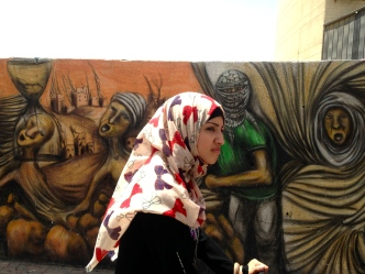 A woman on the street in Ramallah, West Bank.