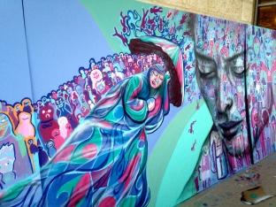 Jerusalem 2015: detail of Israeli/ Palestinian youth mural