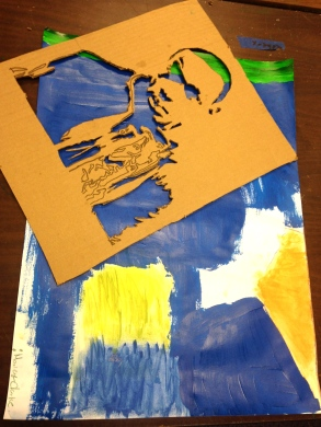 creating self-portrait stencils and abstract paintings
