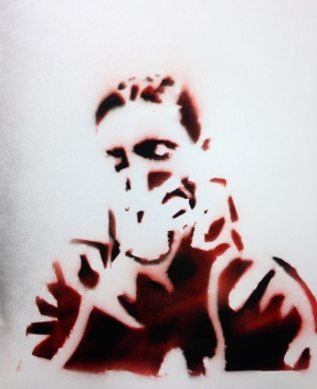 A stencil piece by the student who is now facing a murder charge.