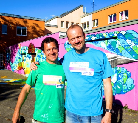 Me with Mike, who has been working with the kids here for 10 years, doing amazing art projects with them and generally being an awesome father figure for them.