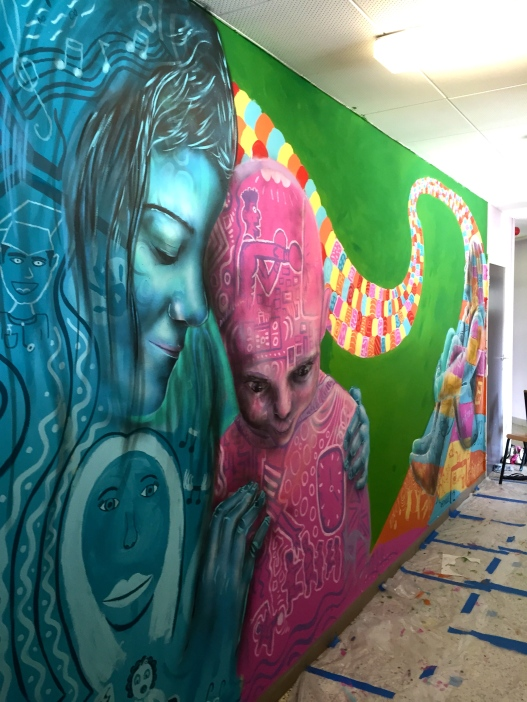 Mural in Clair Matin home created with children who have been taken from their families.
