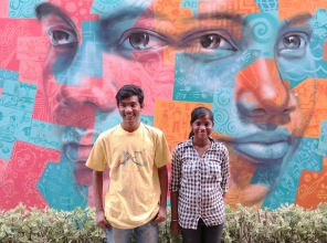 Two of our young artists modeled for the faces