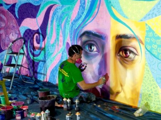 Doing final touches with aerosol