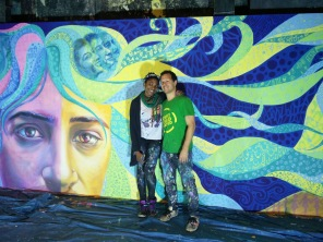 With CJ, finishing up the mural.