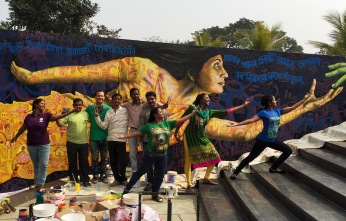Siliguri, India 2016: This collaboration with 4 local Bengali artists (Anindya, Saptarshi, Santanu and Binod) was created for the International Anti-Human Trafficking Conclave. It aims to raise awareness for this issue, also known as modern day slavery, which is at epidemic levels in this region. Organized with Shakti Vahini, Meridian International Center and the US Consulate in Kolkata.