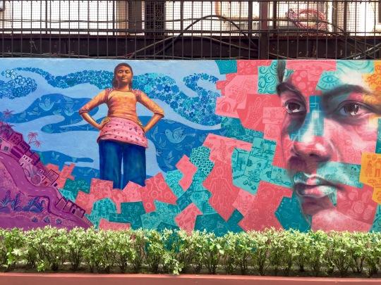 Detail from mural in Kolkata