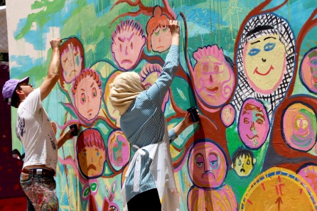 Nablus, West Bank mural project with youth from the Balata refugee camp
